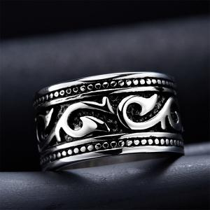 Fashion Stoving Varnish Etched Ring - SILVER 8