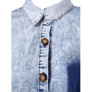 Asymmetrical Pocket Design Denim Shirt -