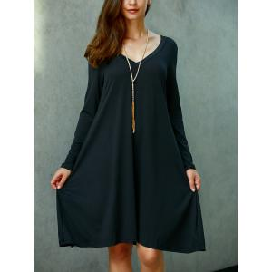 Casual V Neck Long Sleeve Shift Dress -