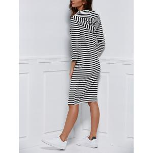Striped Hooded 3/4 Sleeve Hoodie Dress -