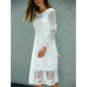 Lace Embroidered Long Sleeve Sheer Wedding Dress - WHITE ONE SIZE(FIT SIZE XS TO M)