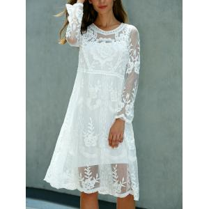 Lace Embroidered Long Sleeve Sheer Swing Dress - WHITE ONE SIZE(FIT SIZE XS TO M)