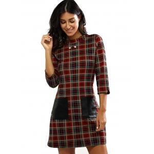 Retro Gingham Print Faux Lether Pocket Dress -