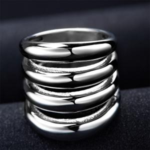 Fashion Cut Out Shiny Side Four Rows Ring - SILVER 7