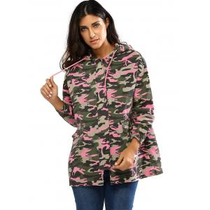 Colorful Camo Print Hooded Loose Coat -