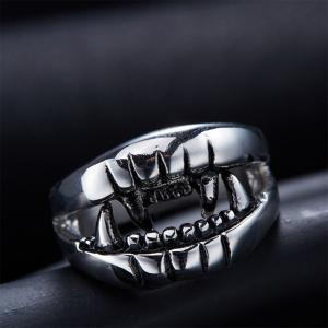 Punk Style Cut Out Finger Devil Ring - SILVER 6