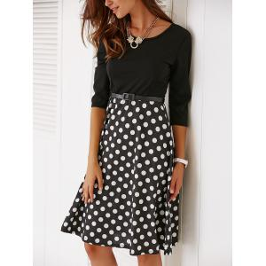 Vintage Belted Knee Length Polka Dot Dress - BLACK M