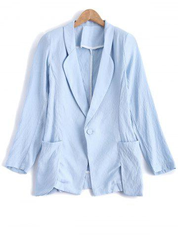 Discount Turn Down Collar Pocket Linen One Button Blazer - L LIGHT BLUE Mobile