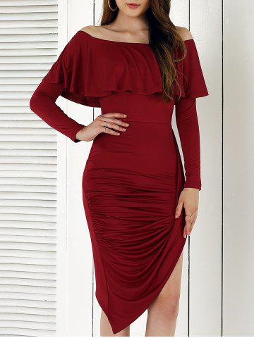 Outfit Novelty Long Sleeve Asymmetrical Overlay Dress WINE RED L