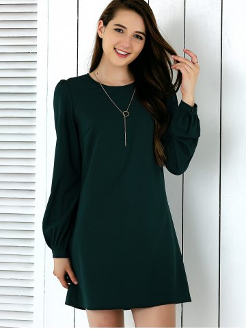 Cheap Brief Lantern Sleeve Pure Color Dress BLACKISH GREEN XL