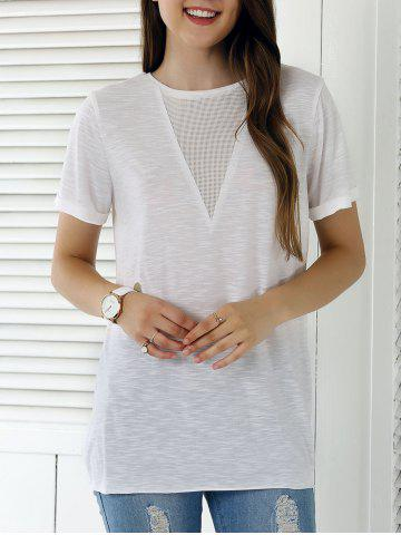 Shop Casual Solid Color Eyelet Long T-Shirt WHITE XL