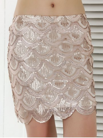 Latest Fish Scale Pattern Sequined Sheath Skirt