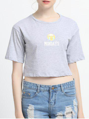 Buy Letter and Face Print Crop Top