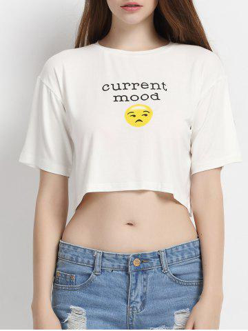 Fashion Round Collar Face Print Crop Top