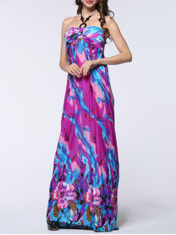 Hot Halter Floral Print Backless Long Maxi Prom Dress