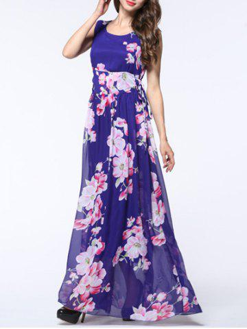 Affordable Sleeveless Floral Side Lace Up Dress