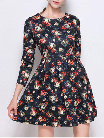 Shops Retro Print High Waist Mini Dress