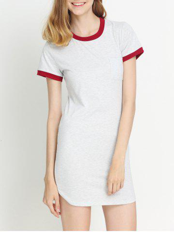 Hot Two-Tone Pocket Tipped T-Shirt Dress