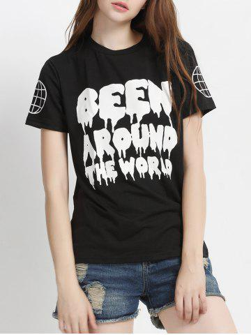 Affordable Two-Tone Letter Print T-Shirt