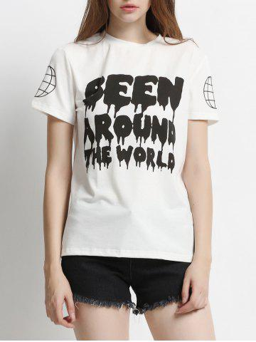 Store Two-Tone Letter Print T-Shirt