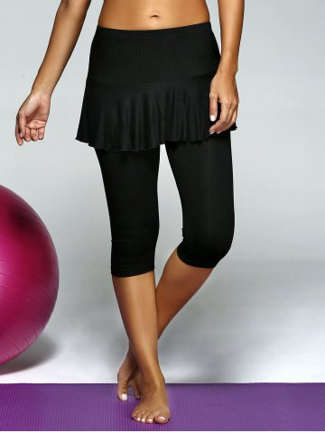 Hot Elastic Waist Skinny Skirt Capri Gym Pants