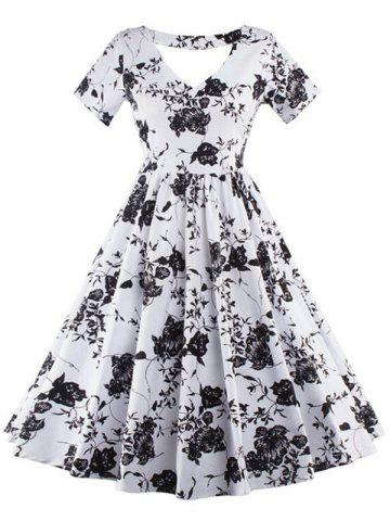 Fancy Vintage Keyhole Floral Print Pin Up Dress WHITE 2XL