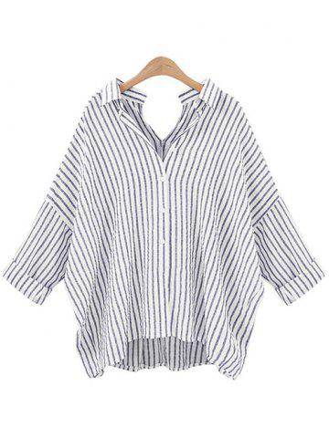 Cheap Stripe Back and  Front V-Shape Baggy Shirt