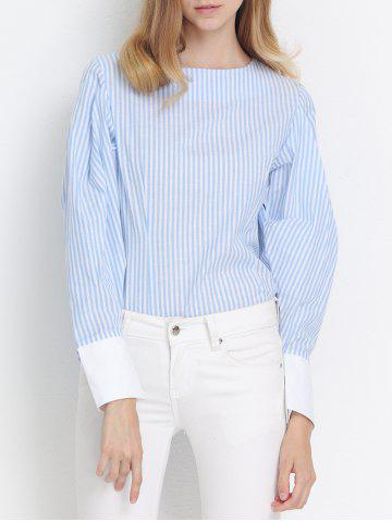 Outfit Preppy Stripe Back Zipper Puff Sleeve Asymmetric Blouse AZURE 2XL