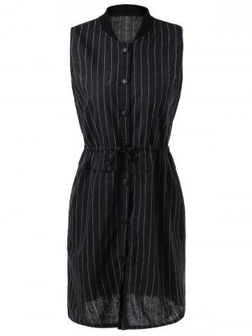 Cheap Striped Drawstring Sleeveless Dress