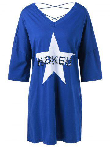 Hot Crossback Beaded Star Loose Dress