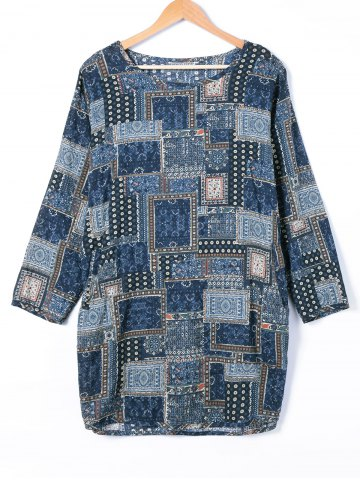Online Tribe Print Long Sleeve Loose Dress