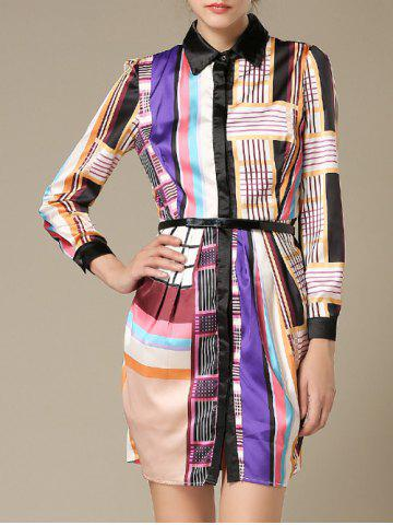 Shop Colorful Geometrical Long Sleeve Dress