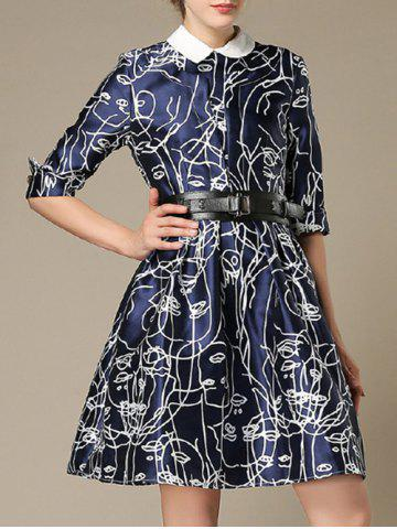 Outfits Belted 3/4 Sleeve Printed Dress