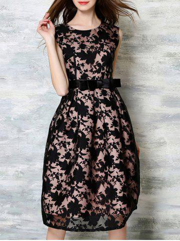 Online Belted Sleeveless Printed Splicing Dress BLACK XL