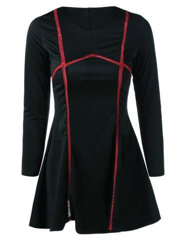 Outfit Long Sleeve Splicing Flare Dress