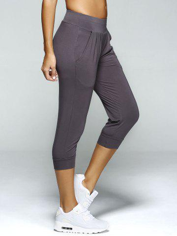 Unique Pleated Front Capri Workout Harem Yoga Pants