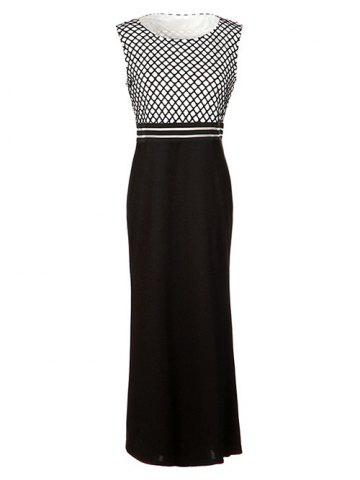 Cheap Formal Sleeveless Grid Printed Maxi Dress