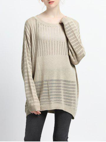 Cheap Loose Fitting Hollow Out Knitted Pullover