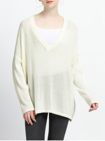 Outfits Pure Color Plunging Neck Knitted Pullover