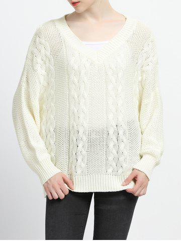 Outfit V-Neck Pure Color Textured Pullover