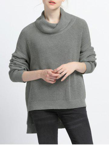 Shop Turtle Neck High Low Pure Color Sweater GRAY M