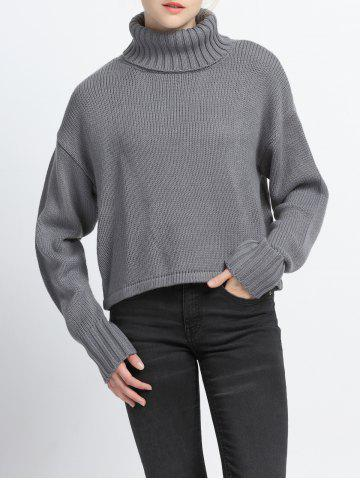 Cheap Pure Color Turtle Neck Ribbed Sweater
