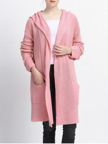 Trendy Pure Color Pocket Design Hooded Cardigan
