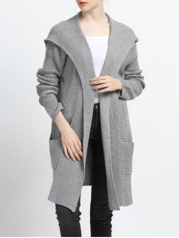 Cheap Pure Color Pocket Design Hooded Cardigan GRAY XL