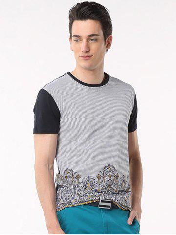Discount Printed Pinstriped Spliced Round Neck Short Sleeve T-Shirt ODM Designer - 2XL BLACK Mobile