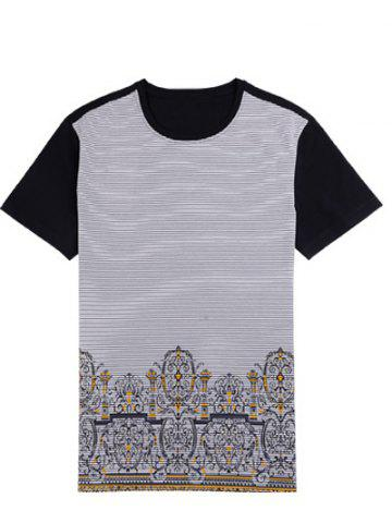 Outfits Printed Pinstriped Spliced Round Neck Short Sleeve T-Shirt ODM Designer - 2XL BLACK Mobile