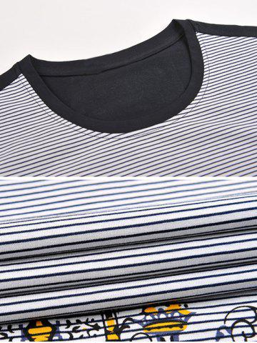 Store Printed Pinstriped Spliced Round Neck Short Sleeve T-Shirt ODM Designer - 2XL BLACK Mobile