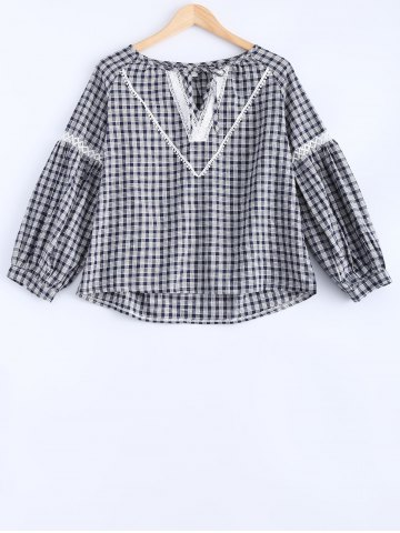Affordable Lace-Up Hollow Out Plaid Blouse
