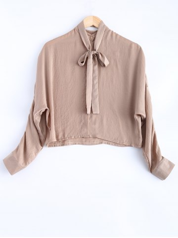 Shop Batwing Sleeves Buttoned Bow Design Blouse