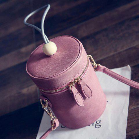 Outfits Zipper PU Leather Cylinder Shape Crossbody Bag - DEEP PINK  Mobile